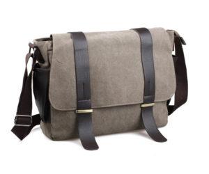 กระเป๋าสะพายข้าง ผ้าแคนวาส สีกากี