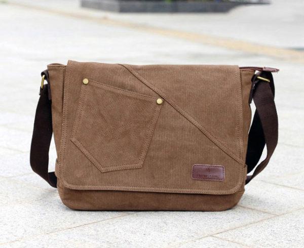 กระเป๋าสะพายข้าง ผ้าแคนวาส สีน้ำตาล