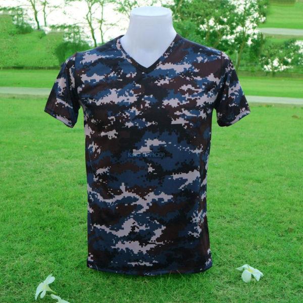 เสื้อยึด คอวี ลายพรางติจิตอล ทหารอากาศ