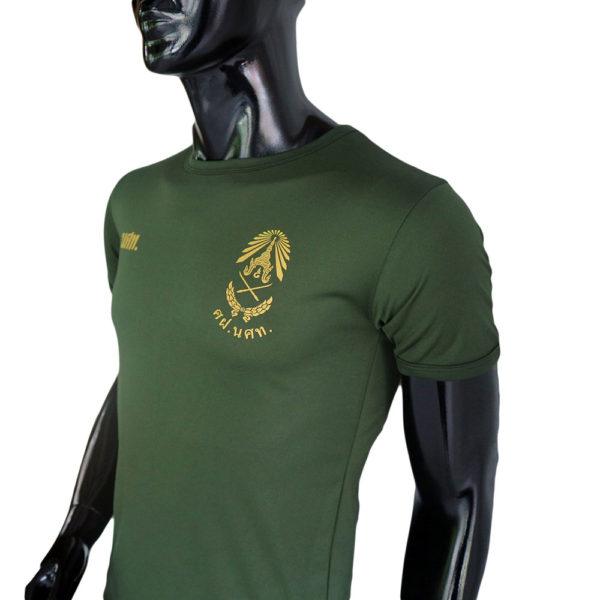 เสื้อยึด คอกลม รด สีเขียวขี้ม้า สกรีนโลโก้ นศท