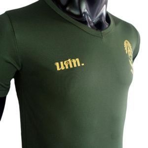 เสื้อยึด คอวี รด สีเขียวขี้ม้า สกรีนโลโก้ นศท