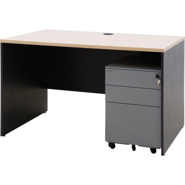 โต๊ะทำงาน สีโอ๊คอ่อน-เทาดำ เฟอร์ราเดค ST1275PDM