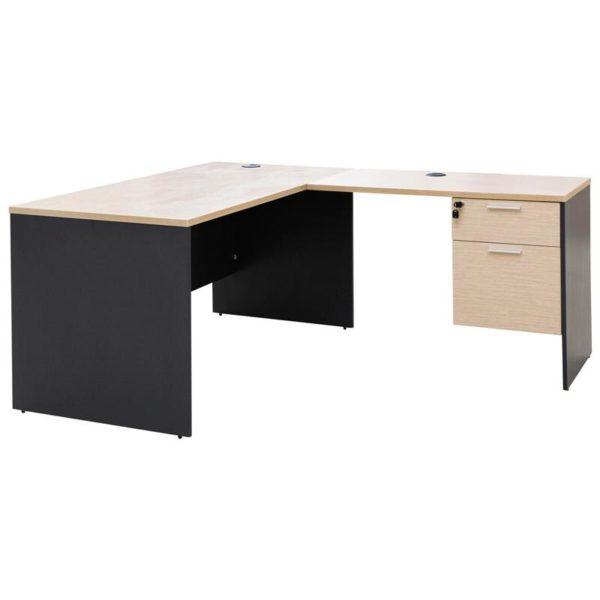 โต๊ะ+โต๊ะข้าง สีโอ๊คอ่อน-เทาดำ เฟอร์ราเดค ST1470SDDAM