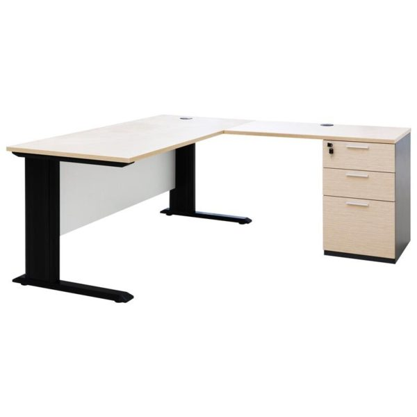 โต๊ะ+โต๊ะข้าง สีโอ๊คอ่อน-เทาดำ เฟอร์ราเดค KT1570SDDBM