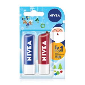 [แพ็คคู่] NIVEA Lip Original Care + Lip Pomegranate (4.8g x 2pcs)