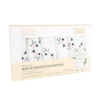 Sofflin ผ้าเช็ดหน้ามัสลินใยไผ่ 12 นิ้ว - Meow (แพ็ค 6ชิ้น)