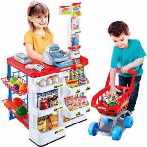 ชุดของเล่น Supermarket พร้อมเครื่องสแกนและรถเข็น สีแดง